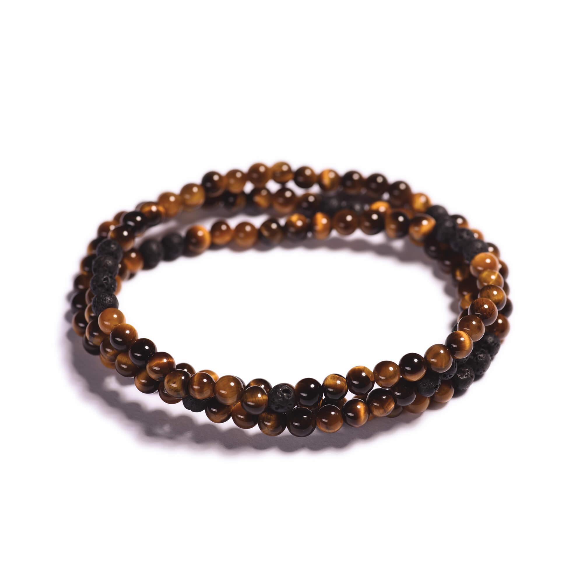 019fe5658 Pánský korálkový wrap náramek - hnědé tygří oko, černá láva ...