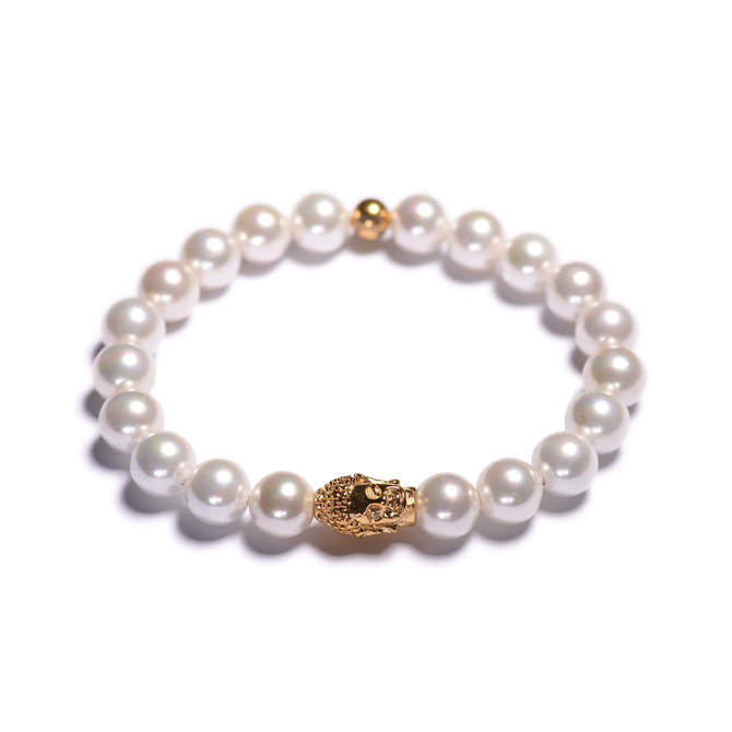 Damsky-perlovy-naramek-bile-shell-perly-Buddha-zlato-a.JPG
